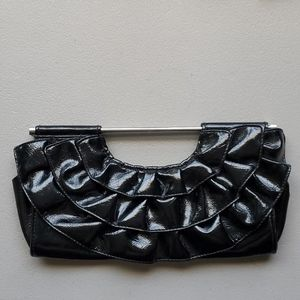 Black patten leather clutch purse